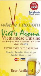 Viets Aroma Pho Restaurant Menu - Frederick, MD - Page 1