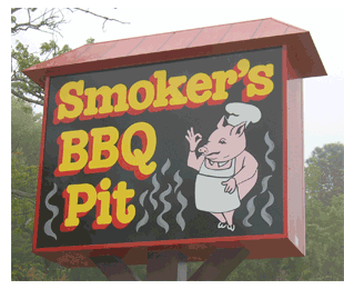 Sign at Smoker's BBQ Pit