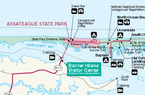 Map of part of Assateague Island