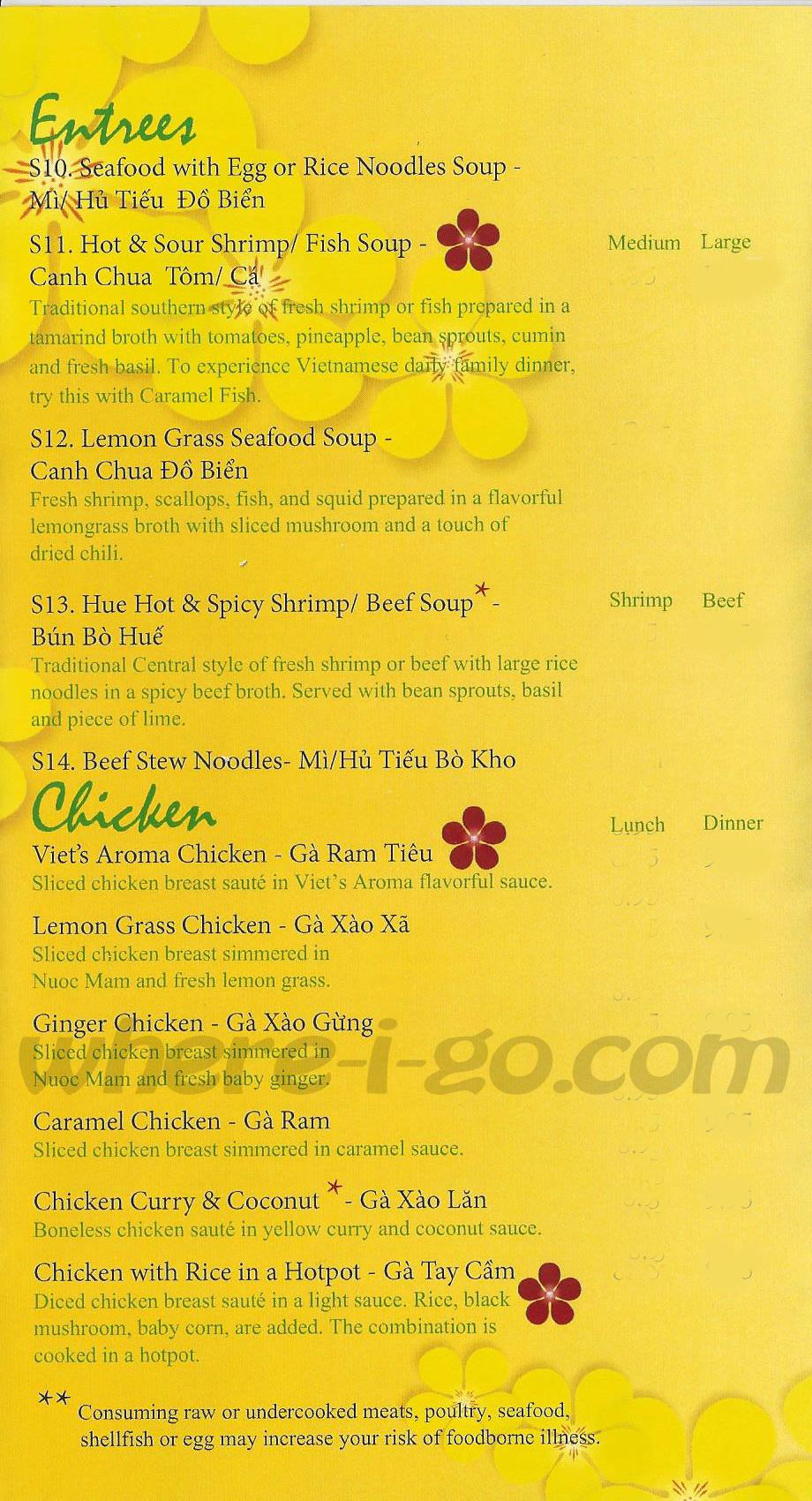 Restaurant Pho Viet Menu